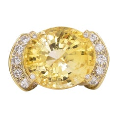 AGL Yellow Sapphire and Diamond Ring