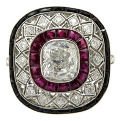 Platinum Estate Cushion Diamond, Ruby, and Onyx Antique Ring