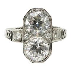 Estate Art Deco Old European Cut Diamond 14 Karat White Gold Engagement Ring