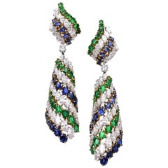 Harry Winston Sapphire, Emerald and Diamond Pendant-Earclips