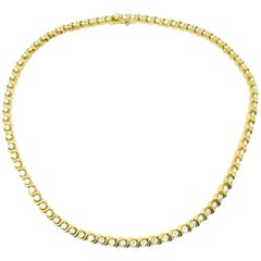Designer Kurt Wayne 10.00 Carat Round S Link 18 Karat Gold Diamond Necklace