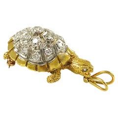 Two-Tone Diamond Turtle Pendant/Brooch