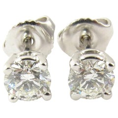 14 Karat White Gold Diamond Stud Earrings .86 Carat