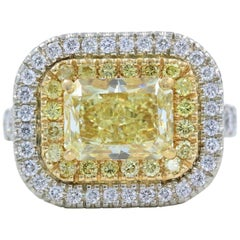 Fancy Light Radiant Diamond Engagement Ring 18 Karat Gold 5.00 Carat