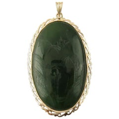 18 Karat Yellow Gold Etched Jade Pendant