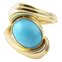 14 Karat Yellow Gold Cabochon Turquoise Ring