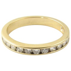 14 Karat Yellow Gold Diamond Wedding Band