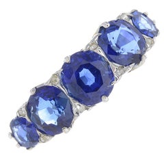 Early 20th Century 18 Carat Gold Sapphire Five-Stone Ring