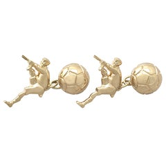 Yellow Gold 'Football' Cufflinks - 1998