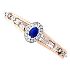 Antique 1880s 2.46 Carat Sapphire 1.05 Carat Diamond Rose Gold Bangle