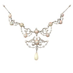 Antique Victorian Opal & 1.78Ct Diamond Yellow Gold and Silver Set Collarette