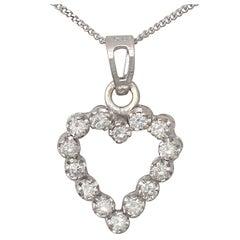 Vintage Diamond and White Gold Heart Pendant - Circa 1980