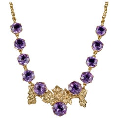 Victorian Amethyst Grape Vine Necklace 18 Carat Gold on Silver, circa 1900