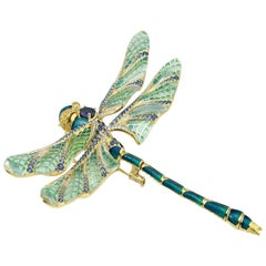 Plique A Jour, Guilloche Enamel flexible dragon fly brooch Sapphire 18 ct Gold