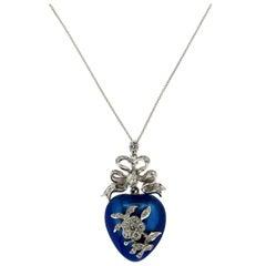 Enamel Heart 18 Karat White Gold Diamonds Pendant Necklace