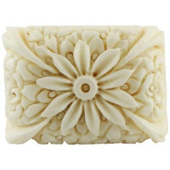 14.30 White Carved Stone with Flower Theme Fashion Ring