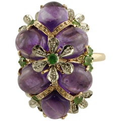 0.30 Carat Diamonds, 16.57 Carat Amethyst and Tsavorites Rose Gold Fashion Ring