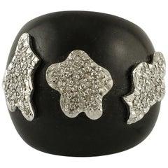 7.06 Ebony, 0.69 Carat Diamonds, White Gold Band Fashion Ring