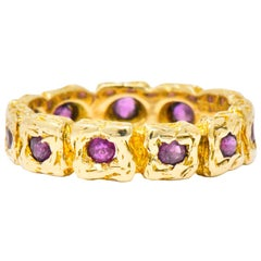 Tiffany & Co. 0.55 Carat Ruby 14 Karat Gold Band Ring