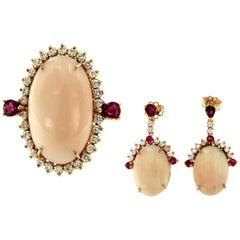 Estate Peau D'ange Coral Diamond Ruby Gold Demi-Parure