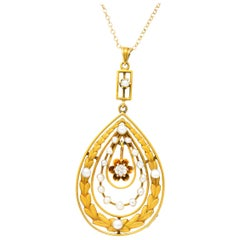 Art Nouveau Diamond Seed Pearl 14 Karat Gold Pendant Necklace