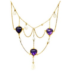 1880's Victorian Amethyst Pearl 14 Karat Gold Swag Necklace