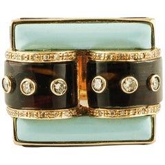 Diamonds, Brown Hard Stone, Turquoise Rose Gold Buckle Shape Fashion Ring
