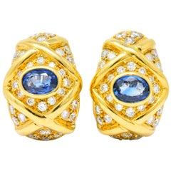 Tiffany & Co. 5.40 Carat Sapphire Diamond 18 Karat Gold Earrings