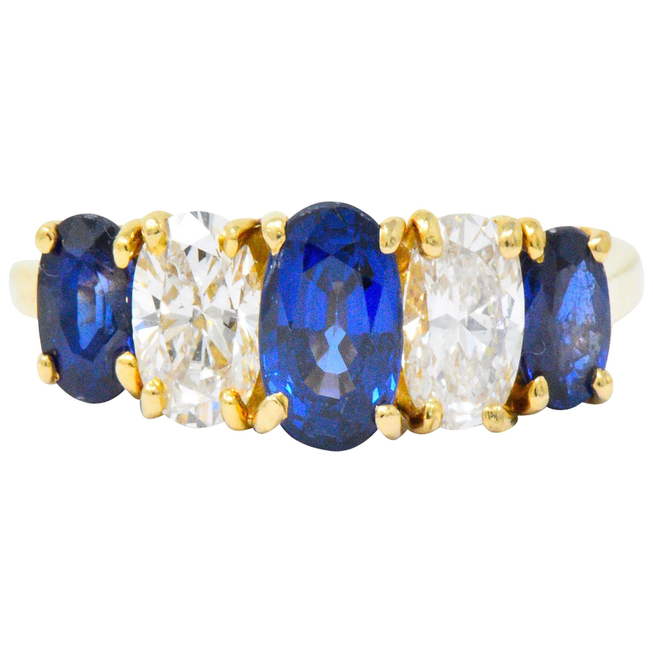 Vintage 2.08 Carats Sapphire Diamond 18 Karat Gold Band Ring