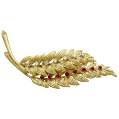Ruby and Diamond Yellow Gold Leaf Brooch