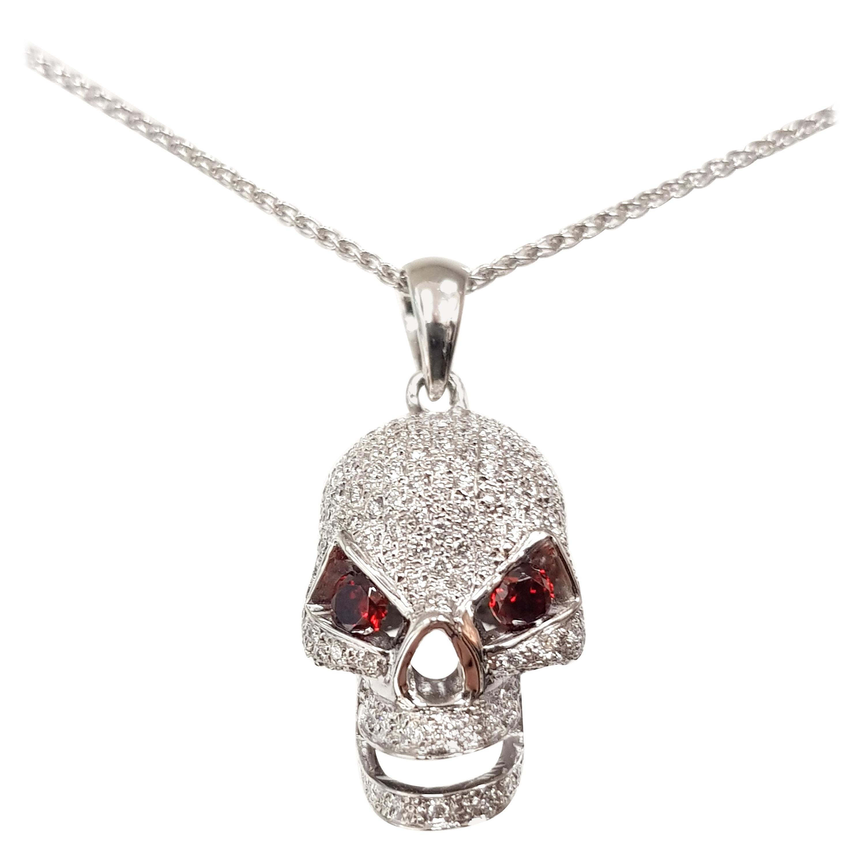 2.00 Carat Round Diamond Red Ruby 18 Karat White Gold Skull Pendant Necklace