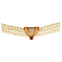 1970s Coral, Cabochon Ruby and Diamond, Three-Strand Pearls Necklace