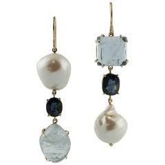 Blue Sapphires, Aquamarine, Pearls Rose Gold Drop Earrings