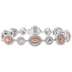 GIA Certified 3.14 Carat Fancy Pink Diamond Mix Shape 18 Karat Gold Bracelet