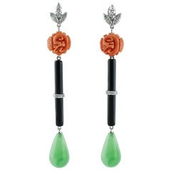 Diamond,Onyx,Green Agate Drops,Engraved Orange Coral, 14K Gold Drop Earrings