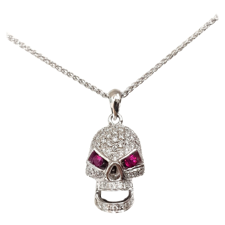 1.00 Carat Round Diamond Red Ruby 18 Karat White Gold Skull Pendant Necklace
