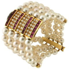 Pearls, 18 Karat Yellow Gold, Diamonds and Ruby, Cuff Bracelet