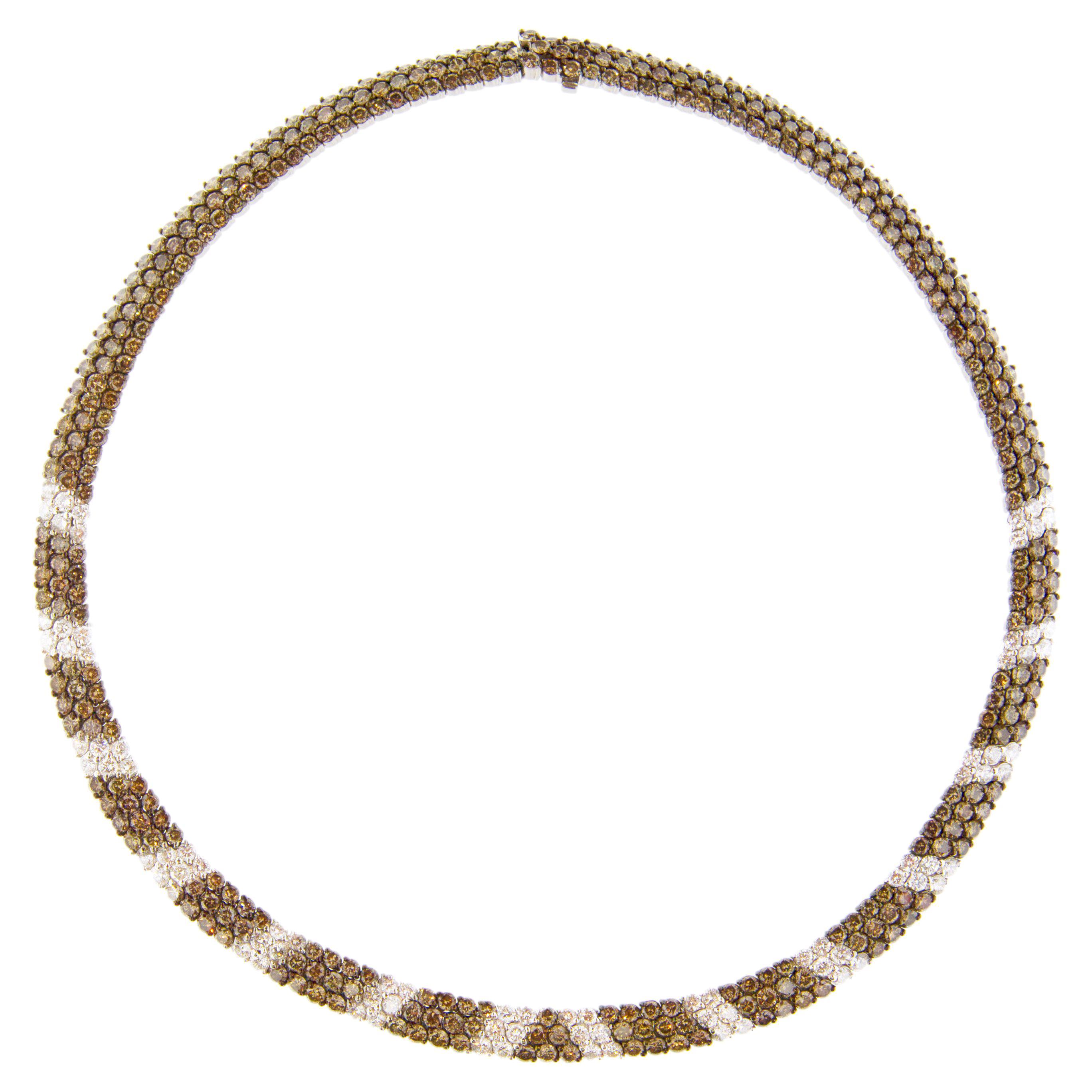 Alex Jona White Diamond and Champagne Diamond 18 Karat White Gold Necklace