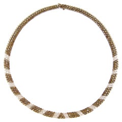 Alex Jona White Diamond and Champagne Diamond 18 Karat White Gold Necklace
