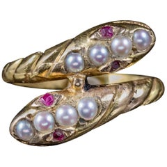 Antique Victorian Ruby Pearl Snake Ring 18 Carat Gold, circa 1880