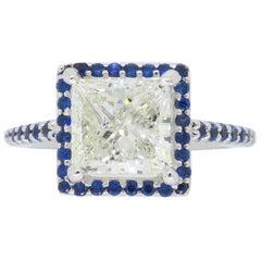 2.00 Carat Princess Cut Diamond and Blue Sapphire Ring