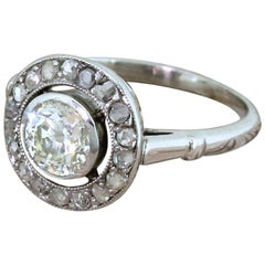 Art Deco 0.55 Carat Old Cut and Rose Cut Diamond Cluster Ring
