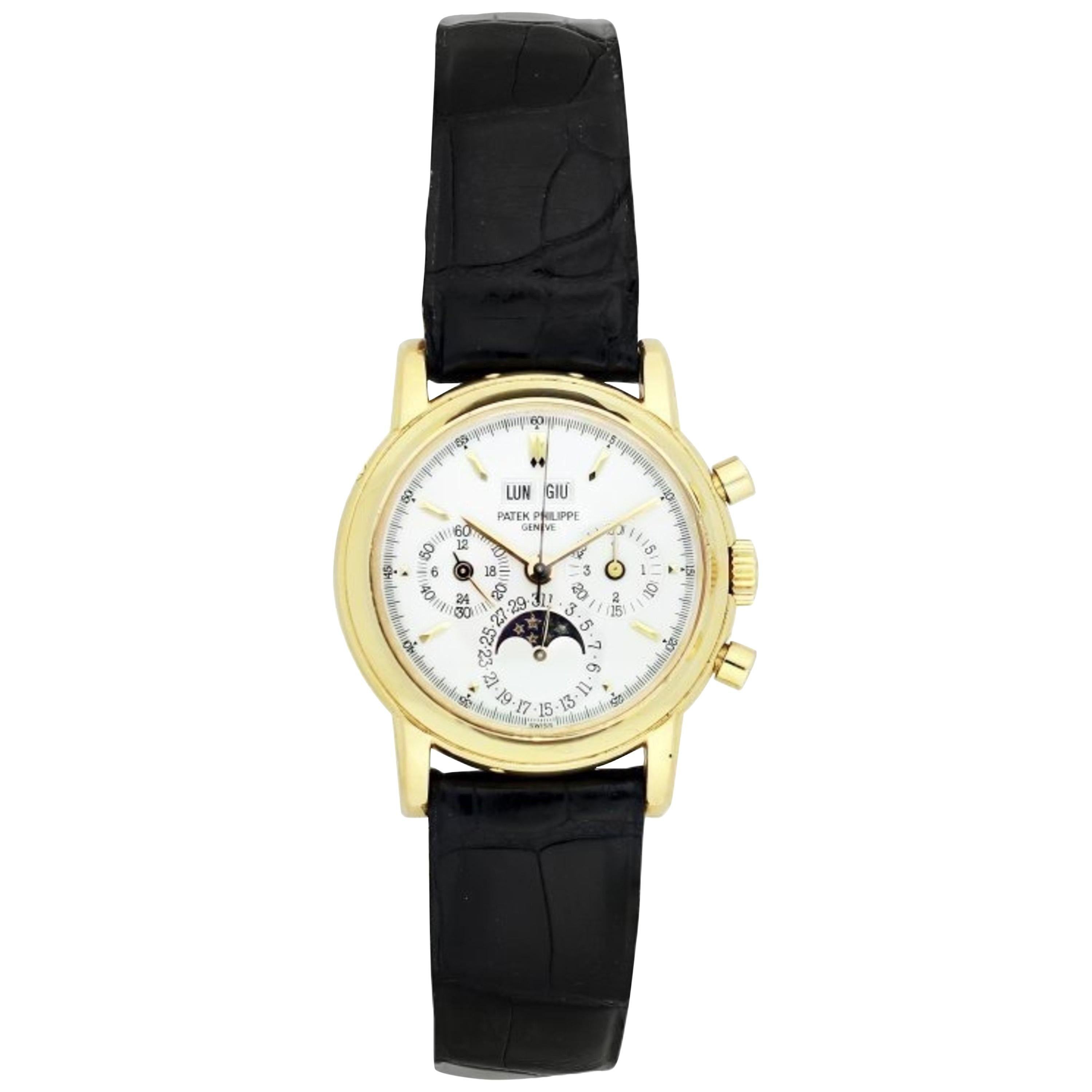 Patek Philippe Fine Yellow Gold Perpetual Calendar Chronograph with Moon Phases