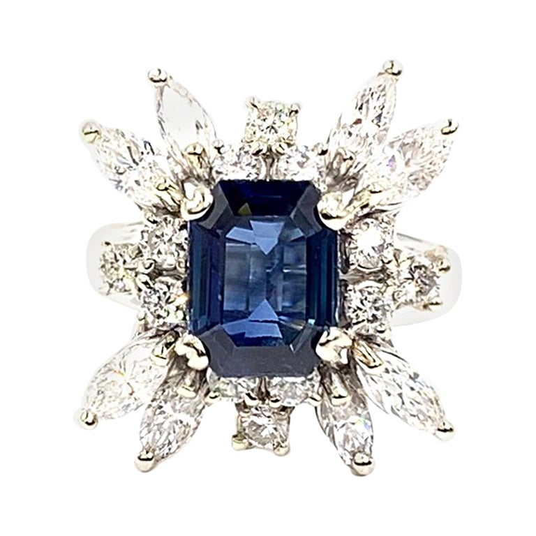 Vintage White Gold 2.80 Carat Sapphire and Diamond Cocktail Ring