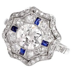 1940s Art Deco Diamond Sapphire Platinum Ring