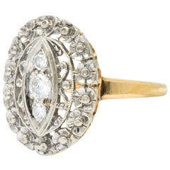 Edwardian Diamond Platinum-Topped 14 Karat Gold Ring
