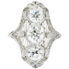 Art Deco 2.68 Carat Diamond Platinum Dinner Navette Ring GIA Certified