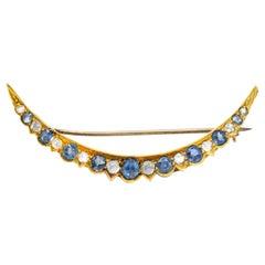 Victorian 1.35 Carat Sapphire Diamond 15 Karat Gold Crescent Brooch