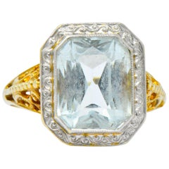 Edwardian 3.00 Carat Aquamarine Platinum-Topped 14 Karat Gold Ring