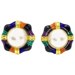 Asch Grossbardt Mabe Pearl Button Earrings with Multi-Stone Inlay